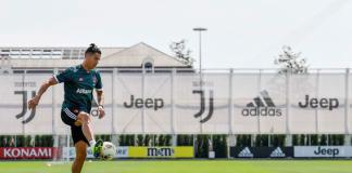 Cristiano Ronaldo con la JUve en entrenamiento