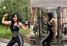 La guapa Maribel Guardia en su rutina de ejercicios